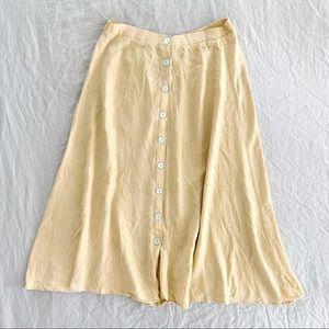 Vintage light yellow tan button down flowy skirt